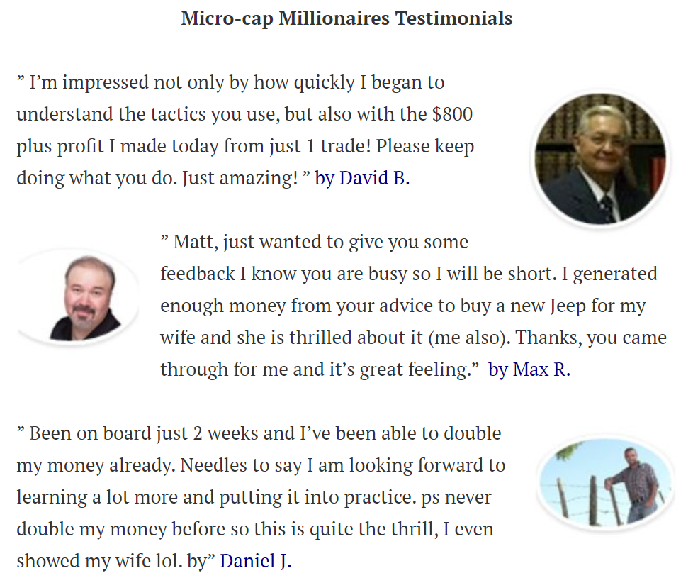 Microcap Millionaires Testimonials